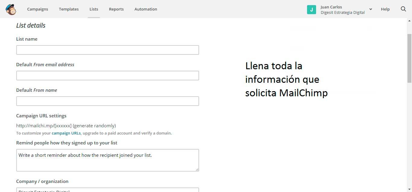 llenar toda la información de la lista de mailchimp