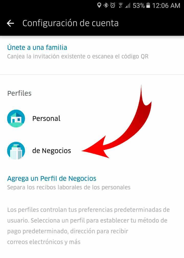 perfil negocios de uber