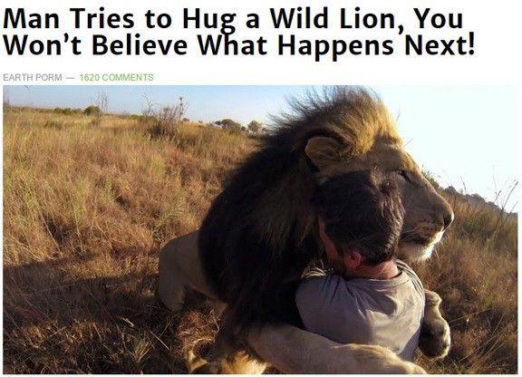hombre abraza a león