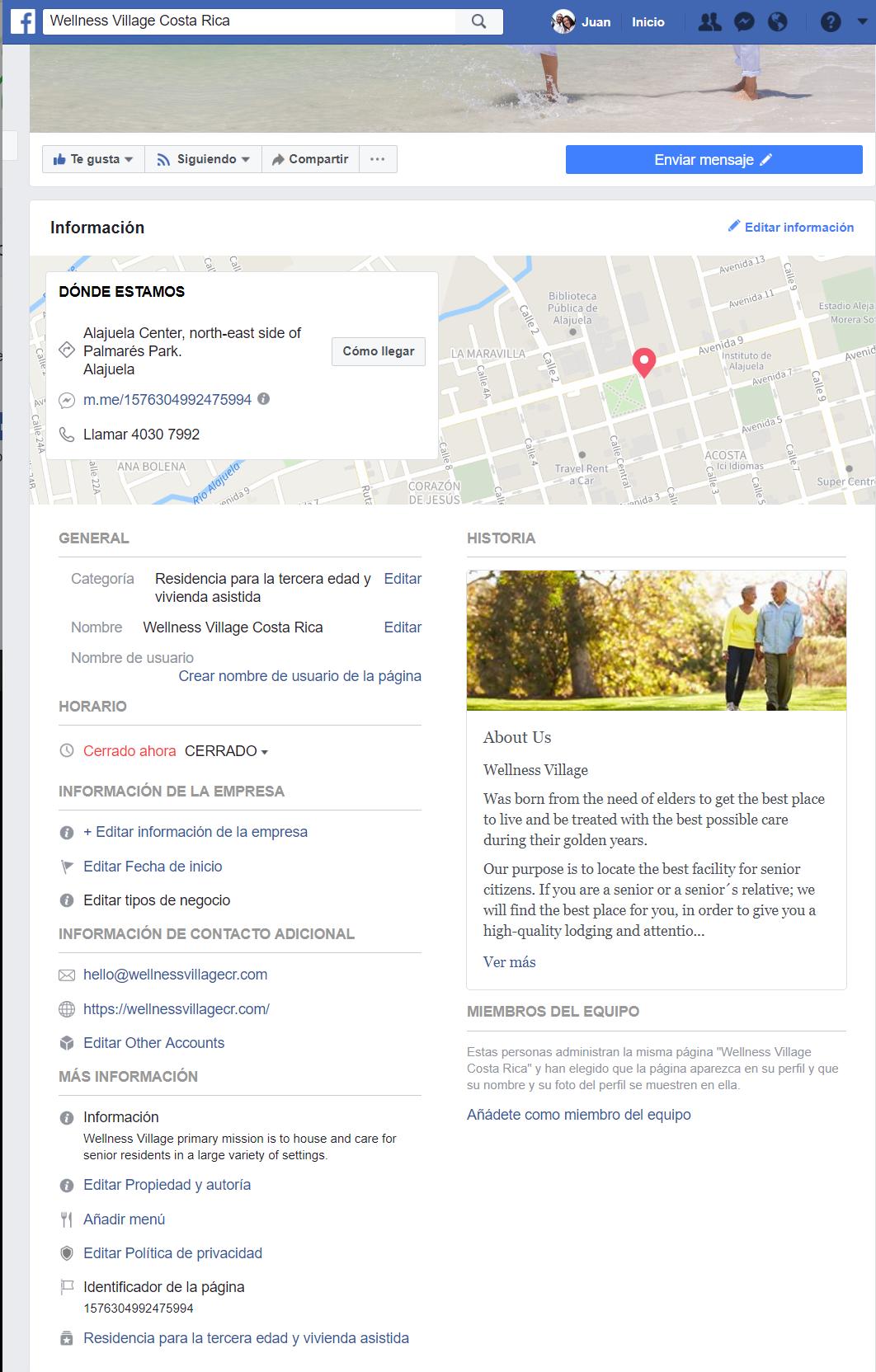 información completa de la página de facebook